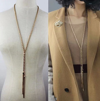 Vintage  Jewelry Peace Symbol Pendant Long Chain Necklace gold knotted  tassel sweater chain long chain necklace body chain