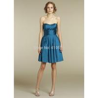A-Line Princess Sweetheart  Blue Taffeta Short Bridesmaid Dress With Ruffle HWGJCBD3