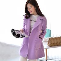 Winter Coat Women Woollen Coat Lavender,Rosepink,Yellow Double Breasted Cloak Trench casacos femininos Plus Size S-XL C48525