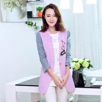 Fashion Slim Patchwork Blazer for Women Jeans Sleeve V-Neck Female Suit Jacket Single Button Contrast Color Women Coat W038