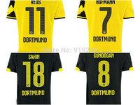 Customize! 14/15 season Dortmund jersey top quality soccer uniforms Size S-M-L-XL
