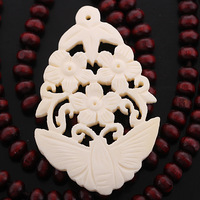 28X50mm Rare Bone Carved Butterfly Flower Pendant Necklace