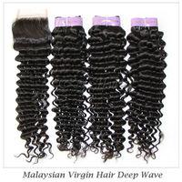 "Elites Hair Product Malaysian Deep Wave Virgin Human Hair 1 piece Lace Top Closure with 3pcs Hair Bundle 12""-28"" in stock"