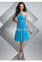 A-Line Princess Halter Blue Chiffon Short Bridesmaid Dress With Ruffle HWGJCBD6