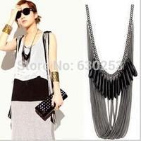 Vintage Retro Silver  MultiLayer Long Tassel Pendant Necklace Sweater Chain  Necklaces Vintage Multi-Layer Long Necklace