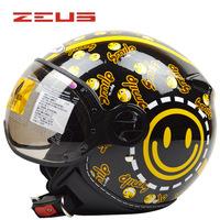 Free shipping!ZEUS Motorcycle 3/4 helmets Women's Scooter Open face helmet ZS-210c Men's vintage capacete DOT approve M/L/XL/XXL