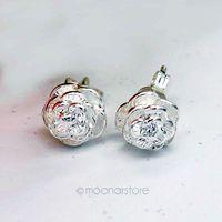 Vintage Women Rose Flower Silver Plated Ear Stud Earring, Delicate 3D Carving Flower Studs Earrings Earing Y50 MPJ237#M5