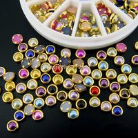 1 x 5mm Colorful Mixed Alloy Nail Art Rhinestone Pearl Decorations+Wheel