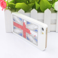 Hot Sale Hand-made the Union Jack Luxury Bling Crystal Rhinestone Hard Back Case Cover foriPhone 5 5G 5S Free Shipping
