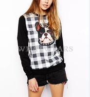 Free Shipping Womens Hoodies Cute Dog Head Printed Plaid Pattrn Round Neck Casual Sweatshirts Pullover [4 70-1750]