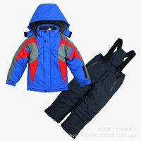 2014 New children's winter clothing sets baby boy Ski Suit Windproof Contrast color Warm Fur Jackets+Bib Pants boys sports suit