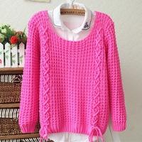 Women's Knitwear Sweater Tops Bowknot Cashmere Blend Round Neck 2014 Autumn Winter W4381