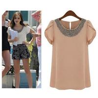 2014 New Summer Casual Women Chiffon Beading Shirts Loose Short Puff Sleeve Blouses, White, Pink, 7 Size S-4XL