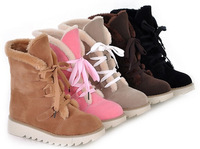 Autumn winter women thick snow boots cotton short thermal casual lace-up shoes solid color large plus size 40-43
