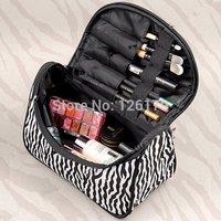 New Women Lady Makeup Cosmetic Case Toiletry Bag Zebra Stripe Travel Handbag Holder Bag Organizer Pouch