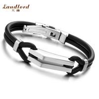 [Landlord] Hot Sale 2014 New Fashion Men jewelry 316L Stainless Steel Men Bracelet Genuine Silicone Bracelets Bangles Gift PH522