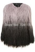 Gradient color  o-neck women's short design long-sleeve coat