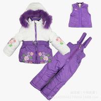 2014 New Children's Winter Clothing Set baby girl Ski Suit Windproof print contrast color Warm Fur Jackets+Bib Pants+Wool Vest