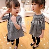 2014 new autumn baby girl dress plaid kids lolita princess clothes fashion korea children clothings