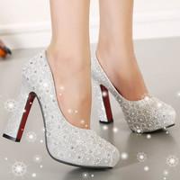 2014 New high-heeled shoes thick heel platform shallow mouth shoes rhinestone princess shoes women