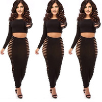 2 PCS Sexy Bandage Dress 2014 Fashion Long Sleeve Black Slim Bodycon Dresses Hollow out Women Evening Party Dress Clubwear 5377