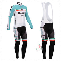 NEW! 2014 Bianchi Cycling Jersey/Cycling Wear/long sleeve Thermal fleece Cycling Clothing (BIB) Pants For Winter Free Shipping