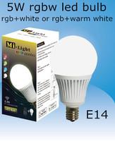 2.4G 5W AC85-265V RGBW (rgb+white or rgb+warm white) E14 led bulb,controlled by IOS/Android system wifi control or rgbw remote