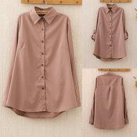 352 New 2014 autumn blouse & shirts women clothing blusas femininas khaki shirt chiffon blouse women work wear tops for women