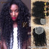 1pc Lace Closure With 3pc or 4pc Malaysian Virgin Hair Bundles Ms Lula Malaysian Curly Hair Human Hair VIP Beauty Hair