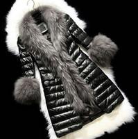 2014 New Fashion winter women fur coats Long Faux Fur Raccoon Fur Collar fur jacket Lady slim Covered Button leather jacket