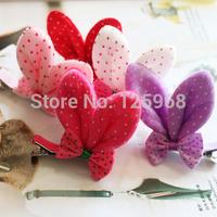 Free Shipping 2014 New Wholesale 40pcs/lot Baby Girls Bows Hair Clips Hair Accessories Cartoon 3D Rabbit Ear Hairclips Hairpins