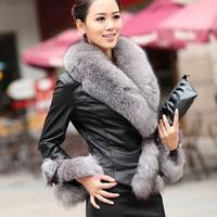 2014 New Arrival winter women Imitation parchment coat  Fox Fur Collar Long Sleeve leather jacket lady Slim short fox fur coat