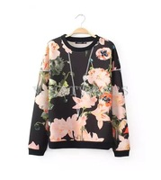Free Shipping Fashion Style Womens Floral Printed Hoodie Tops Round Neck Casual Pullover [3 70-1749]