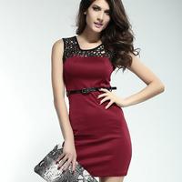 Minimalist Lacy Neck Short career Dress women belts Dear Lover LC2911 Free Shipping