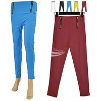 Double Zipper Front Pants High Waist Skinny Slim Dress Leggings Trousers