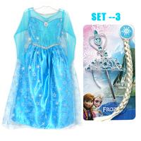 1:1 Exclusive custom DIS Frozen Dress Accessories Frozen Costume Elsa Dress Sequined Cosplay Costume Lace Girl Princess Dress
