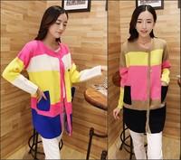 Autumn 2014 Women Sweater Cardigan Color Block Knitted Long Sleeve Long Coat roupas femininas tricotado 2 Colors C48528