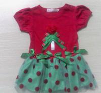 Free Shipping Baby Girl Christmas Dress Girl's Short Sleeve Merry Christmas Dress Kids Cotton Dot Casual Dress Girls Tutu Dress