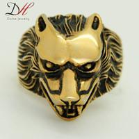 Vintage New Fashion Golden Ferocious Cool Lion King Men Rings Punk Rock Stainless Steel Rings, RN0680