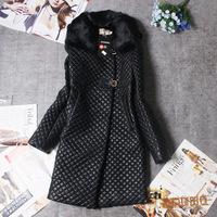 2014 fashion new design Winter Coat Women Outerwear Genuine Rabbit Fur Collar Thick Plus Size PU fur Coat Overcoat  long coat