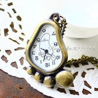 Fashion Pendant Watch Bronze Antique Pocket Watch Footprint Cartoon Bell Style Free Shipping Wholesale Hot Sale