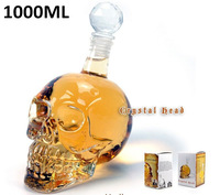 1 Piece 1000ml Skull Head Vodka Bottle,Glass Skull Wine Bottle,Crystal Skull Bottle