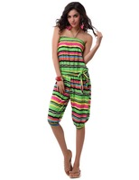 10 Colors Available Free Shipping New Summer Dress 2014 Sexy Fashion ML18013 Knee Length Strapless Striped Jumpsuit Women