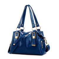 2014 women's fashion genuine leather handbag fashion casual messenger bag lychee cowhide big bags