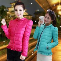 2014 autumn puff sleeve plus size clothing slim design thin short down coat outerwear female