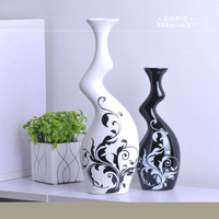 Modern home furnishings jingdezhen ceramic fashion vase decoration black-and-white brief countertop decoration