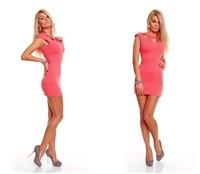 Free Shipping ML17644 Short Sleeve Pink Black Office Lady Work Wear Mini Dress Fashion Women Summer Dress