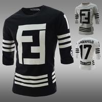 2014 new fall thicker male apparel printing digital printing round neck T-shirt shirt male long-sleeved T-shirt men shirt