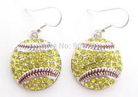 Free shipping fashion 30pair a lot Softball Earrings Dangle Crystal Rhinestone Silver Bling Yellow Sport Earrings(E100078)