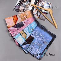 Korean scarves women fashion Abstract graffiti Scarf Autumn and winter Cashmere warm scarf shawl 190*95cm Free Shipping